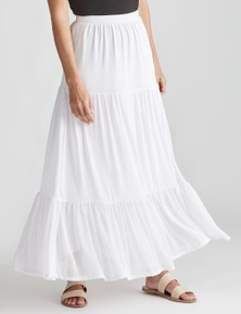NONI B TIERED MESH MAXI SKIRT