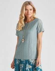 SHORT SLEEVE KNIT LACE TOP