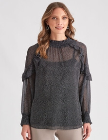 LIZ JORDAN SHIRRING FRILL TOP
