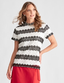 LIZ JORDAN TWO TONE LACE TOP