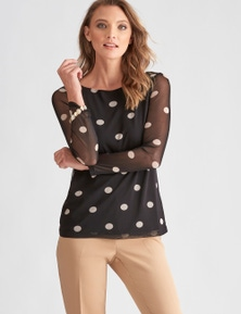 LIZ JORDAN LONG SLEEVE KNIT SPOT TOP