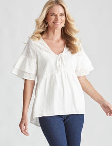 Noni B WOVEN BRODERIE FRILL TOP