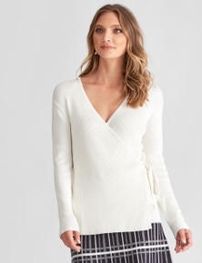 LIZ JORDAN KNIT WRAP TOP