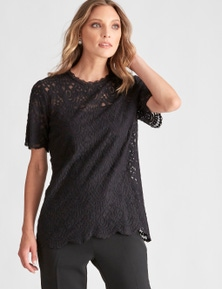 LIZ JORDAN LACE SCALLOP TOP