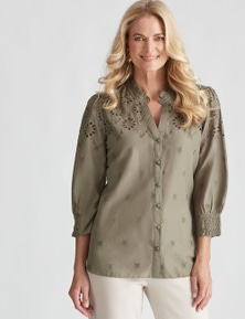 NONI B COTTON BRODERIE SHIRT
