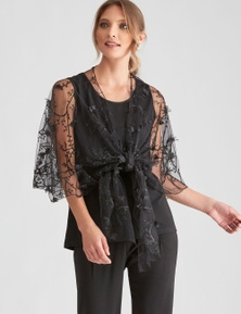 LIZ JORDAN AFTER DARK FLOWER WRAP TWINSET