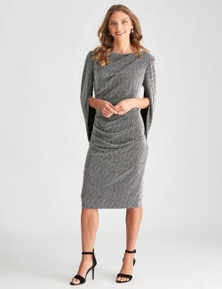 LIZ JORDAN AFTER DARK CAPE SLEEVE DRESS