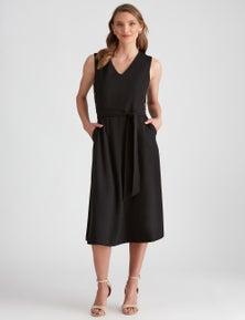 LIZ JORDAN CREPE BUTTON DRESS