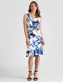 LIZ JORDAN SCUBA FLORAL DRESS