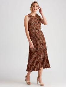 LIZ JORDAN PLEATED SKIRT DRESS