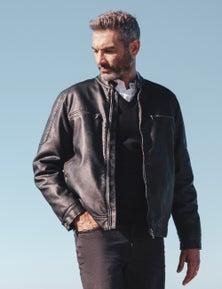Rivers Leather Look Biker Jacket