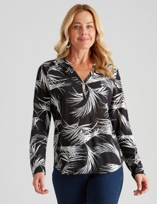 Rivers Long Sleeve V Neck Button Tee