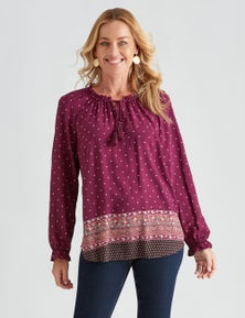 Rivers Long Sleeve Frill Detail Peasant Blouse