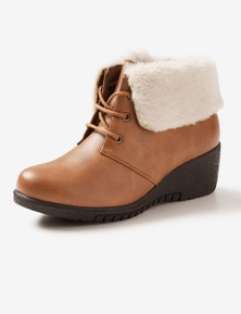 Riversoft Sherpa Collar Lace-Up Wedge