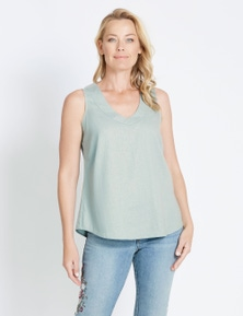 Rivers V Neck Linen Blend Tank