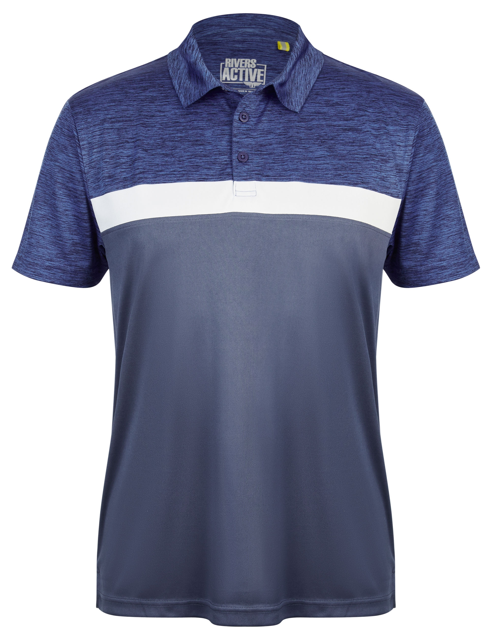 Rivers Printed Panel Active Polo - Navy/white/blue