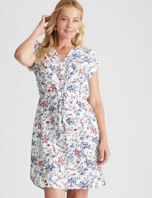 Rivers Extended Sleeve Button Thru Midi Dress