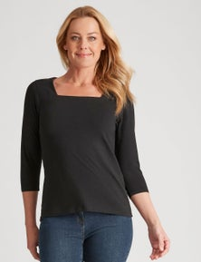 Rivers Square Neck 3/4 Sleeve Tee