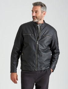 Rivers Leather Look Biker Jacket