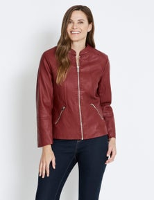 Rivers Leather Look Collarless Jacket