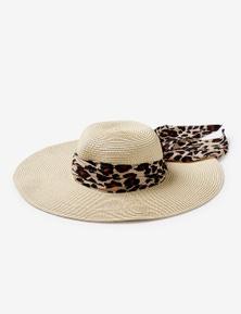 Rivers Wide Brim Hat with Leopard Tie