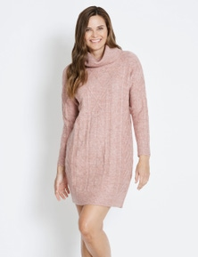 Rivers Cable Funnel Neck Knitwear Dress