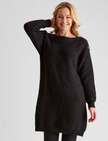 Rivers Button Detail Knit Midi Dress