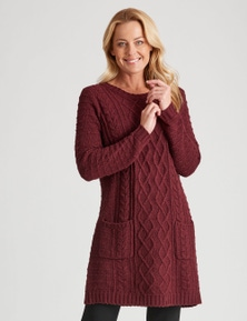 Rivers Long Sleeve Cable Pocket Knit Dress