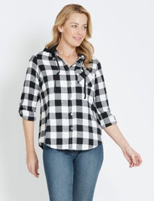 Rivers Long Sleeve Hooded Flannel Check Shirt