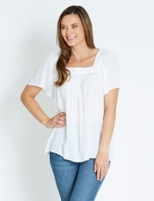 Rivers Short Sleeve Square Neck Textured Top