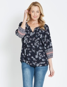 Rivers 3/4 Sleeve Border Sleeve Boho Top