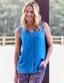 Rivers Sleeveless Button Thru Lyocell Shirt