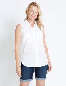 Rivers Sleeveless Pocket Detail Linen Blend Shirt