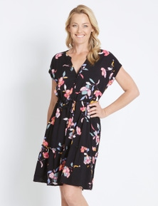 Rivers Short Sleeve Tiered Midi Shirt Dress