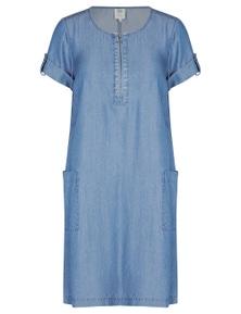 Rivers Short Sleeve Ring Detail Lyocell Midi Dress