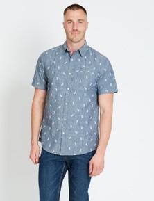 Rivers Short Sleeve Denim Printed Shirt