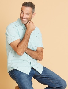 Rivers Short Sleeve Cotton Geo Print Shirt