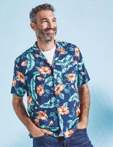 Rivers Short Sleeve Printed Cuban Shirt