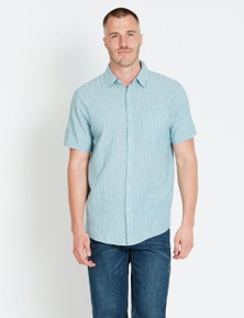 Rivers Short Sleeve Linen Cotton Stripe Shirt