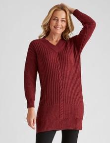Rivers Long Sleeve V Neck Cable Knit Midi Dress