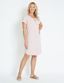 Rivers Short Sleeve V Neck Shift Midi Dress