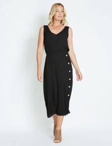 Rivers Sleeveless Button Detail Textured Maxi Dress