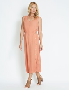 Rivers Sleeveless Button Detail Textured Maxi Dress