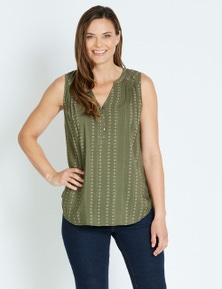 Rivers Sleeveless Pleat Detail Notch Neck Top