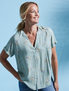 Rivers Short Sleeve Notch Neck Turn Up Sleeve Top