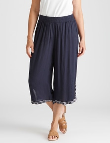 Rivers Embroidered Hem Textured Culotte