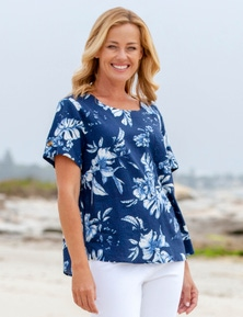Rivers Short Sleeve Linen Blend Button Top