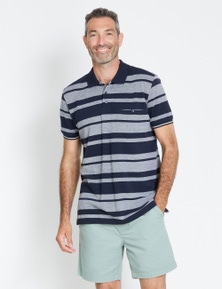 Rivers Short Sleeve Birdseye Stripe Polo
