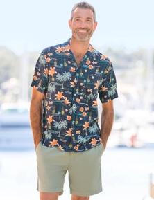 Rivers Short Sleeve Printed Rayon Cuban Shirt