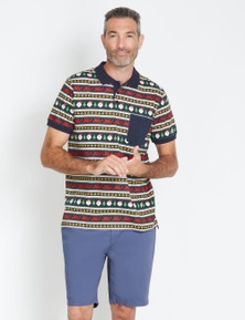 Rivers Short Sleeve Jersey Print Polo - Xmas